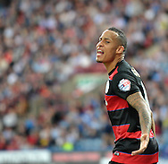 Tjaronn Chery of Queens Park Rangers celebrates his goal during the Sky Bet Championship match at the John Smiths Stadium, Huddersfield<br /> Picture by Graham Crowther/Focus Images Ltd +44 7763 140036<br /> 29/08/2015