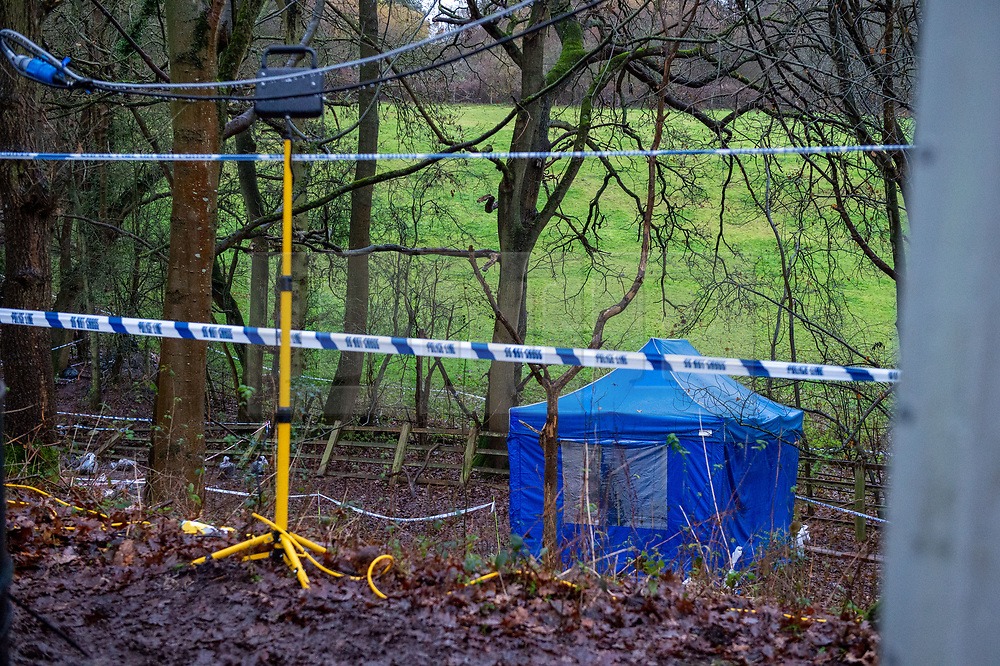 © Licensed to London News Pictures. 12/12/2019. Gerrards Cross, UK. A police forensic tent sits at the site of a search operation as the Metropolitan Police Service confirm they are searching woodland in Beaconsfield, Buckinghamshire in connection with the disappearance and murder of Mohammed 'Shah' Subhani. Police have been in the area conducting operations on Hedgerley Lane since Thursday 5th December 2019 and are combing wooded area with specialist officers, assisted by specialist search dogs. Photo credit: Peter Manning/LNP