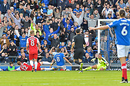 Portsmouth Forward, Brett Pitman (8) slides in to score a goal to make it 1-0 during the EFL Sky Bet League 1 match between Portsmouth and Fleetwood Town at Fratton Park, Portsmouth, England on 16 September 2017. Photo by Adam Rivers.