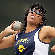 High school athletes in action during the Shot Putt event at the 2013 NYC Mayor's Cup Outdoor Track and Field Championships at Icahn Stadium, Randall's Island, New York USA.13th April 2013 Photo Tim Clayton