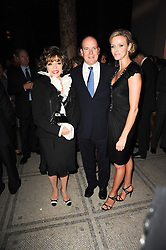 Left to right, JOAN COLLINS, PERCY GIBSON and CHARLENE WITTSTOCK at the opening of the Victoria & Albert Museum's latest exhibition 'Grace Kelly: Style Icon' opened by His Serene Highness Prince Albert of Monaco at the V&A on 15th April 2010.