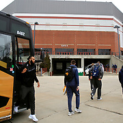 Players get off the bus to walk into Ball State University's Worthen Arena prior to the game in Muncie, Ind., on Saturday, February 17, 2018. THE BLADE/KURT STEISS