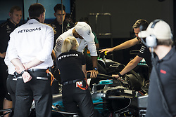 August 24, 2017 - Spa, Belgium - 44 HAMILTON Lewis from Great Britain of team Mercedes GP testing how to get out the car with the Halo during the Formula One Belgian Grand Prix at Circuit de Spa-Francorchamps on August 24, 2017 in Spa, Belgium. (Credit Image: © Xavier Bonilla/NurPhoto via ZUMA Press)