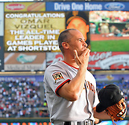 Omar Vizquel blows a kiss to the fans of Cleveland after watching a tribute video before his first game back in Cleveland.