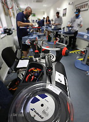 Rafael Nadal's racket string in the Stringing Room on day two of the Wimbledon Championships at the All England Lawn Tennis and Croquet Club, Wimbledon. PRESS ASSOCIATION Photo. Picture date: Tuesday July 4, 2017. See PA story TENNIS Wimbledon. Photo credit should read: Philip Toscano/PA Wire. RESTRICTIONS: Editorial use only. No commercial use without prior written consent of the AELTC. Still image use only - no moving images to emulate broadcast. No superimposing or removal of sponsor/ad logos.