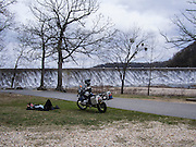 Bill Dragoo taking an afternoon nap at Spavinaw Lake dam.