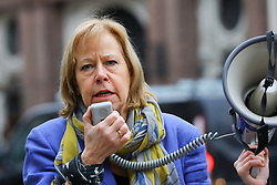 © Licensed to London News Pictures. 15/01/2019. London, UK.  Ruth Cadbury, MP for Brentford and Isleworth speaks to demonstrators at a protest opposing the government's plans for a third runway at Heathrow Airport outside the Royal Courts of Justice. A pre-trial hearing challenging the legality of the government's decision takes place today with campaigners claiming the decision is unlawful as it ignores climate impact.  Photo credit: Vickie Flores/LNP