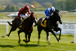 Muntahaa (blue & white) ridden by Jim Crowley wins the Dubai Duty Free Finest Surprise Stakes during day two of the Dubai Duty Free Spring Trials & Beer Festival at Newbury Racecourse.