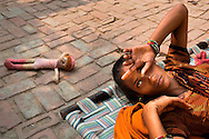 A young woman, rejected by her family for leaving her husband, lives in a group home for at-risk women in Vrindavan, India. Cultural stigmas in India make it very difficult for a woman to be without a man. (Amy Toensing, Pulitzer Center on Crisis Reporting Grant)