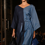 Designer Anissa Aida showcases is latest collection at Fashion Scout - SS19 at Freemasons Hall, London, UK. 14 September 2018.