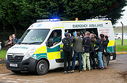 © Licensed to London News Pictures. 30/10/2015. London, UK. A ambulance carrying Shaker Aamer  leaving the airport after a plane carrying former Guantanamo Bay detainee, Shaker Aamer arrived at Biggin Hill airport  Photo credit: Ben Cawthra/LNP