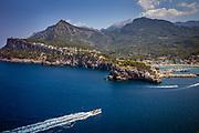 Soller, Mallorca, Yacht heading towards Port de Soller. 02-08-2018
