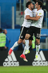 July 2, 2017 - Saint Petersburg, Russia - Emre Can, Lars Stindl (R) of the Germany national football team celebrate winning after the 2017 FIFA Confederations Cup final match between Chile and Germany at Saint Petersburg Stadium on July 02, 2017 in St. Petersburg, Russia. (Credit Image: © Igor Russak/NurPhoto via ZUMA Press)