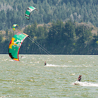 kiteboarders enjoying the sunny and windy day in the Columbia Gorge Saturday, April 26, 2008.  in Stevenson.<br /> (The Columbian/ N. Scott Trimble)