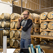 Tucson, AZ -- 09/28/2017<br /> <br /> Nathan Thompson Avelino, Hamilton Distillers head distiller and maltser, prepares a blend for an upcoming whiskey competition.<br /> <br /> Hamilton Distillers, makers of Whiskey Del Bac, is the first craft distillery in Southern Arizona since prohibition. The company produces three distinct single malt whiskeys, including Whiskey Del Bac Dorado which is malted over mesquite.<br /> <br /> The distillery offers tours and tastings on Saturdays at 3 p.m<br /> <br /> Photography by Jill Richards