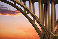 Highway Bridge Arch And Structural Supports Against A Red Evening Sky, The Little Miami River, Ohio, USA