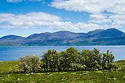 Mountains of Isle of Arran from Kintyre, Argyll coast, Scotland