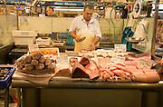 Fishmonger stalls inside historic covered market building, Jerez de la Frontera, Spain