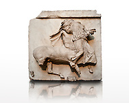 Sculpture of Lapiths and  Centaurs battling from the Metope of the Parthenon on the Acropolis of Athens no XXIX. Also known as the Elgin marbles. British Museum London. A Centaur with pointed ears is carrying off a virgin. .<br /> <br /> If you prefer to buy from our ALAMY STOCK LIBRARY page at https://www.alamy.com/portfolio/paul-williams-funkystock/greco-roman-sculptures.html . Type -    Elgin    - into LOWER SEARCH WITHIN GALLERY box - Refine search by adding a subject, place, background colour, etc.<br /> <br /> Visit our ROMAN WORLD PHOTO COLLECTIONS for more photos to download or buy as wall art prints https://funkystock.photoshelter.com/gallery-collection/The-Romans-Art-Artefacts-Antiquities-Historic-Sites-Pictures-Images/C0000r2uLJJo9_s0