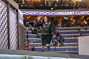 Congresswoman Tammy Duckworth greets the Democratic Party of Illinois as she leaves the stage after her speech