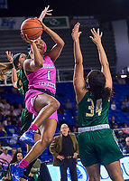 Middle Tennessee Blue Raiders guard Anastasia Hayes (1) shoots during the UAB Blazers at Middle Tennessee Blue Raiders college basketball game in Murfreesboro, Tennessee, Thursday, February, 20, 2020.<br /> Photo: Harrison McClary/All Tenn Sports