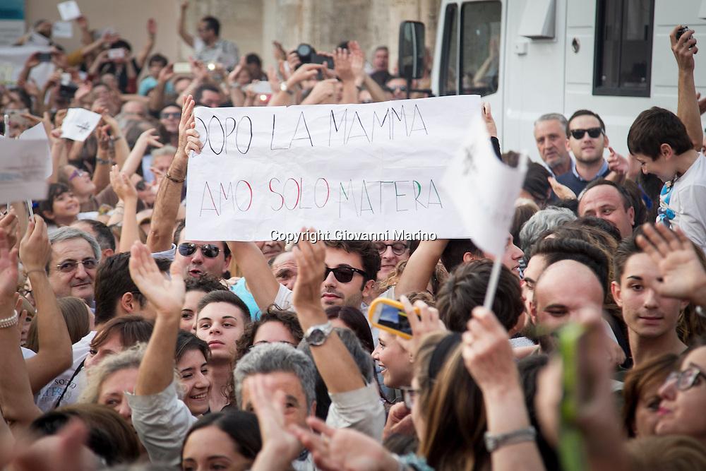 Matera (MT) 17.10.2014 - Proclamazione Capitale Europea della Cultura 2019 alla città di Matera. I festeggiamenti in piazza durante la proclamazione. Foto Giovanni Marino
