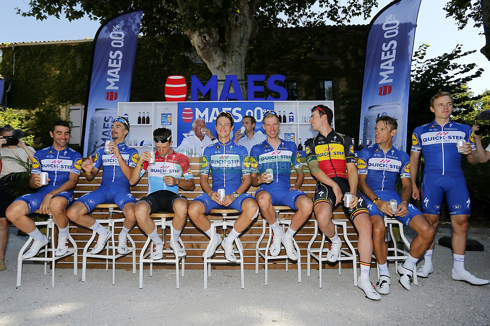 July 23, 2018 - Carcassonne, France - CARCASSONNE, FRANCE - JULY 23 : ALAPHILIPPE Julian (FRA) of Quick - Step Floors, DECLERCQ Tim (BEL) of Quick - Step Floors, GILBERT Philippe (BEL) of Quick - Step Floors, JUNGELS Bob (LUX) of Quick - Step Floors, LAMPAERT Yves (BEL) of Quick - Step Floors, RICHEZE Maximiliano Ariel (ARG) of Quick - Step Floors, TERPSTRA Niki (NED) of Quick - Step Floors during the second restday of the 105th edition of the 2018 Tour de France cycling race on July 23, 2018 in Carcassonne, France, 23/07/2018 (Credit Image: © Panoramic via ZUMA Press)