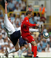 Picture: Henry Browne.Digitalsport<br /> Date: 14/08/2004.<br /> Tottenham Hotspur v Liverpool FA Barclays Premiership.<br /> <br /> Sean Davis of Spurs fouls Dietmar Hamann of Liverpool.