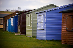 Holiday sheds painted in all colours, Isle of Portland, Dorset, England, UK.