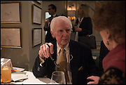 BRIAN SEWELL;  Fortnum and Mason and Quartet books host a celebration for the publication of  The White Umbrella by Brian Sewell. Illustrated by Sally Ann Lasson. Fortnum and Mason. Piccadilly. London. 3 March 2015.