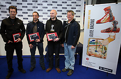 Designers of Alpina (studio Kabinet 01, Robert Kriznar and Jure Miklavc) and general manager of Alpina (Ziri) Matjaz Lenassi at Alpina presentation of new cross-country shoes with red dot award: product design, on April 24, 2008, in Pokljuka, Rudno polje, Slovenia.  (Photo by Vid Ponikvar / Sportal Images)/ Sportida)