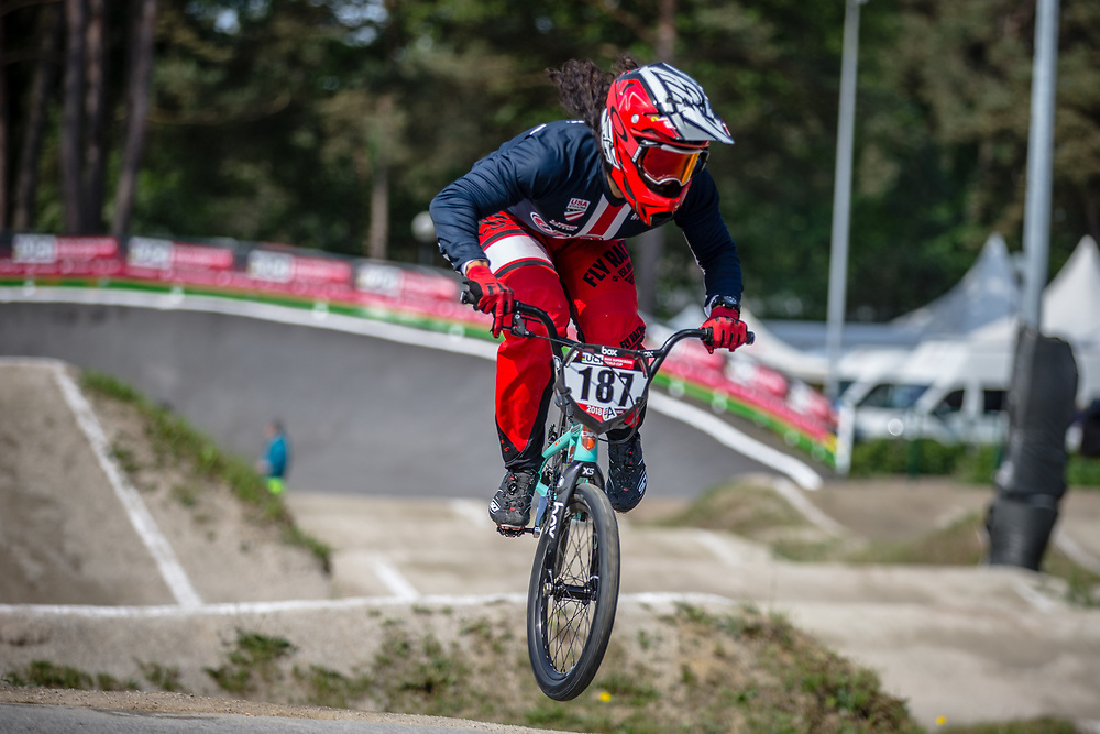#187 (GARCIA Jared) USA during practice at Round 5 of the 2018 UCI BMX Superscross World Cup in Zolder, Belgium
