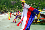 Decorated long tailed boats Koh Phangan Thailand