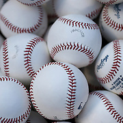 NEW YORK, NEW YORK - May 19: A collection of Major League Baseballs used during batting practice before the Washington Nationals Vs New York Mets regular season MLB game at Citi Field on May 19, 2016 in New York City. (Photo by Tim Clayton/Corbis via Getty Images)