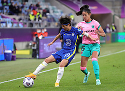 Chelsea's Ji So-yun (left) and Barcelona's Leila Ouahabi battle for the ball during the UEFA Women's Champions League final, at Gamla Ullevi, Gothenburg. Picture date: Sunday May 16, 2021.