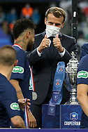 French President Emmanuel Macron gives Neymar Jr of PSG the thumbs up during the trophy ceremony following the French Cup final football match between Paris Saint-Germain (PSG) and AS Saint-Etienne (ASSE) on Friday 24, 2020 at the Stade de France in Saint-Denis, near Paris, France - Photo Juan Soliz / ProSportsImages / DPPI