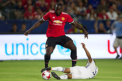 July 15, 2017 - Carson, California, U.S - Manchester United F Romelo Lukaku (9) and Los Angeles Galaxy D Ashley Cole (3) in action  during the summer friendly between Manchester United and the Los Angeles Galaxy at the StubHub Center. (Credit Image: © Brandon Parry via ZUMA Wire)