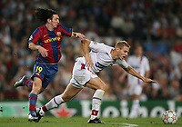 Fotball<br /> 19.09.2007<br /> Foto: Witters/Digitalsport<br /> NORWAY ONLY<br /> <br /> v.l. Lionel Messi, Mathieu Bodmer Lyon<br /> <br /> Champions League FC Barcelona - Olympique Lyon 3:0