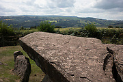 Arthurs Stone in Dorstone, Herefordshire, United Kingdom. Arthurs Stone, Herefordshire is a Neolithic chambered tomb, or Dolmen, dating from 3,700 BC – 2,700 BC and is situated on the ridge line of a hill overlooking both the Golden Valley, Herefordshire and the Wye Valley.