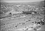 """""""Union Pacific Co. Aerial of RR yards near Greeley Ave. March 1, 1950"""" (in foreground is Pacific Building Materials, Readymix Concrete 400 N. Thompson)"""
