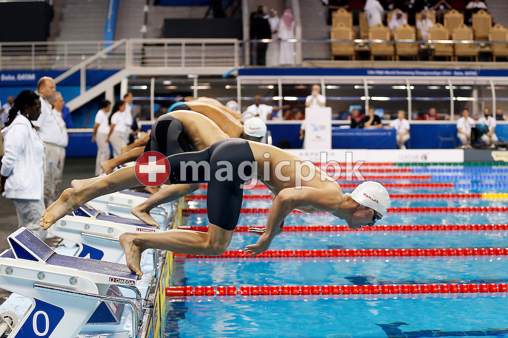 Jeremy DESPLANCHES of Switzerland competes in the men's 200m Freestyle Heats during the 12th Fina World Short Course Swimming Championships held at the Hamad Aquatic Centre in Doha, Qatar, Wednesday, Dec. 3, 2014. (Photo by Patrick B. Kraemer / MAGICPBK)
