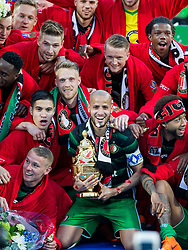 Sven van Beek of Feyenoord, Kevin Diks of Feyenoord, Nicolai Jorgensen of Feyenoord, Karim El Ahmadi of Feyenoord, Tonny Vilhena of Feyenoord, Sam Larsson of Feyenoord, Jan-Arie van der Heijden of Feyenoord, Tyrell Malacia of Feyenoord Jens Toornstra of Feyenoord, cup, trophy during the Dutch Toto KNVB Cup Final match between AZ Alkmaar and Feyenoord on April 22, 2018 at the Kuip stadium in Rotterdam, The Netherlands.
