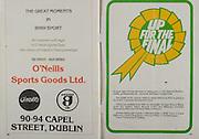 All Ireland Senior Hurling Championship - Final,.05.09.1982, 09.05.1982, 5th September 1982, .05091982AISHCF,.Cork v Tipperary, .Tipperary 3-18, Cork 1-13,..O'Neills Sports Goods Ltd, 90-94 Capel Street, Dublin,