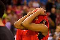 Jesuit High School basketball player, Akachi Okugo, #1 reacts to their 61-56 loss to Sheldon High School in the boys DIV I CIF Norcal Championship game at Power Balance Arena Tuesday Jan 3, 2012.