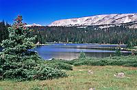 Brooklyn Lake below Browns Peak of the Snowy Range.  Medicine Bow Mountains, Wyoming, USA.