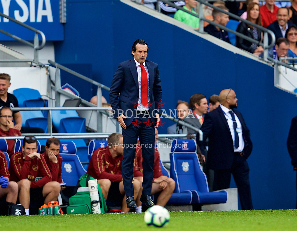 CARDIFF, WALES - Sunday, September 2, 2018: Arsenal's manager Unai Emery jumps during the FA Premier League match between Cardiff City FC and Arsenal FC at the Cardiff City Stadium. (Pic by David Rawcliffe/Propaganda)