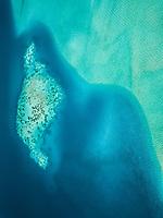 Aerial view of the turquoise sea in Bora-Bora, French Polynesia.