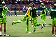 Pakistan National Cricket team  and  captain Sahid Afridi inside Pallakele Stadium, Kandy during the group stages of the  2011 ICC World Cricket Cup. Seen here warming up prior to the game against Zimbabwe.