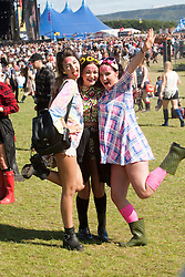 Chloe Lupton, Margaret Queen and Morgan Cuthill, Main arena, Sunday, T in the Park 2014.<br /> © Michael Schofield.