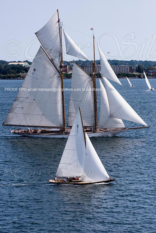Falcon and Eleonora sailing in the Panerai Newport Classic Yacht Regatta, day one.